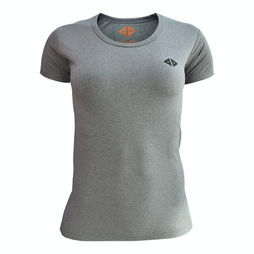 Playera Running Acide Sportswear Jaspe Gris Mujer