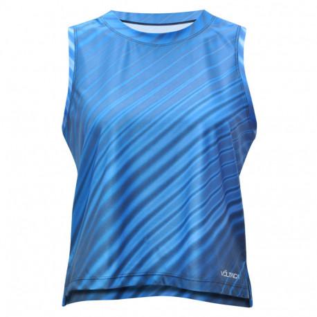 Playera Voltaica Fitness Vetas Azul Mujer