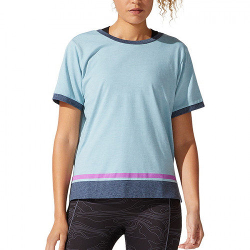 Playera Asics Fitness Color Block SS Azul Mujer