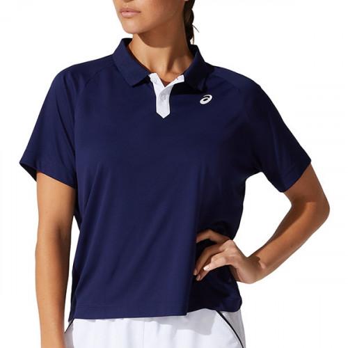 Playera Tennis Asics Court Polo Azul Mujer