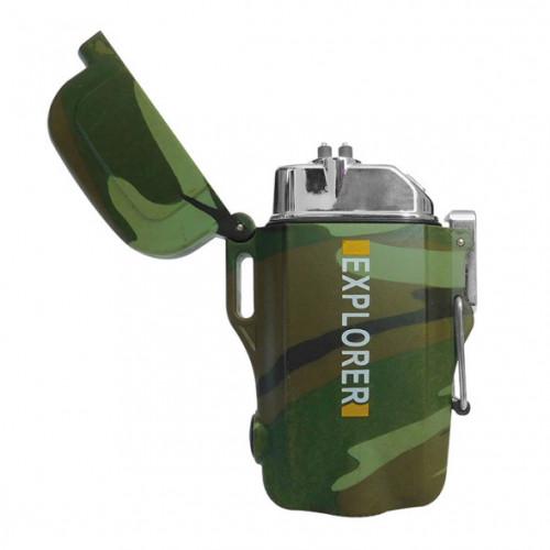 Encendedor Wallis Campismo Electronico USB con Linterna a Prueba de Agua Verde