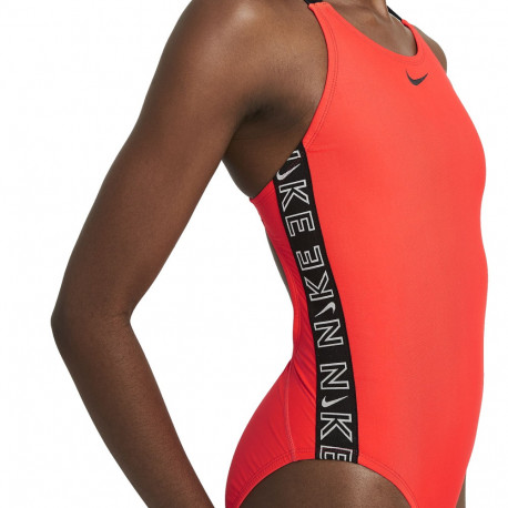 Traje de baño Nike Swim Natación Logo Tape Rojo Mujer