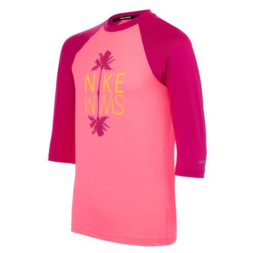 Rashguard Playa Nike Swim Palm Logo Rosa Kids