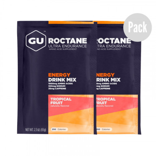 Hidratacion GU Energy Running Roctane Drink Mix En Sobre Tropical Fruit Pack 2 Azul