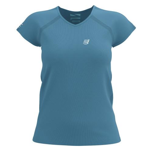 Playera Compressport Running Training Born To SwimBikeRun Limited Azul Mujer