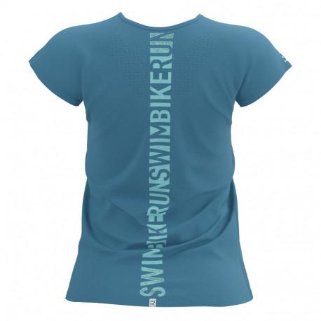 Playera Compressport Triatlón Training SwimBikeRun LTD Azul Mujer