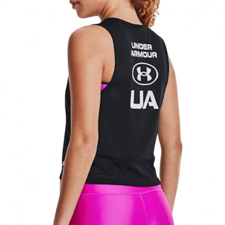 Tank Top Under Armour Fitness Armour Muscle Mesh Negro Mujer