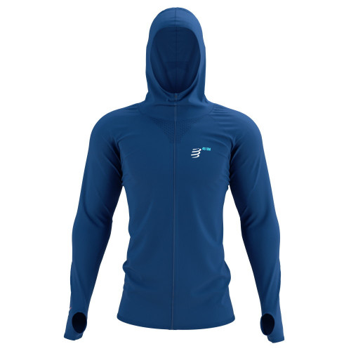 Sudadera Compressport Trail Running 3D Thermo Zip Mont Blanc Limited Azul Hombre