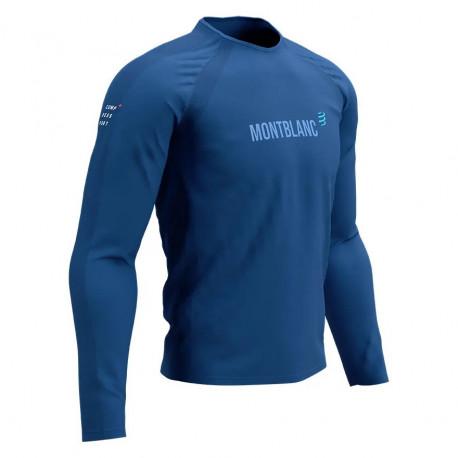 Playera Compressport Trail Running Training Mont Blanc LTD Azul Hombre