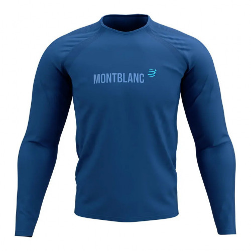 Playera Compressport Trail Running Training Mont Blanc Limited Azul Hombre