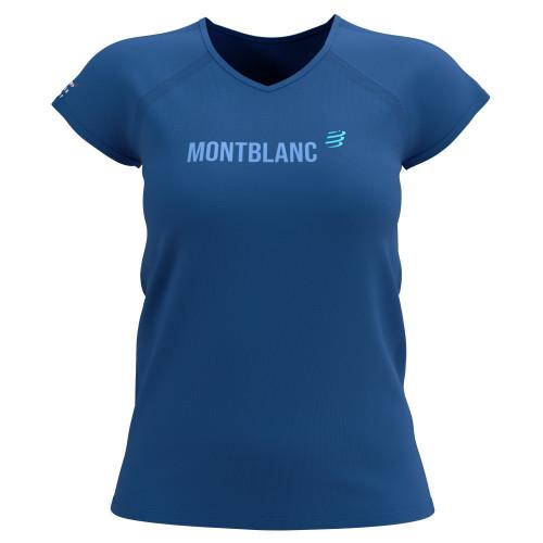 Playera Compressport Trail Running Training Mont Blanc Limited Azul Mujer