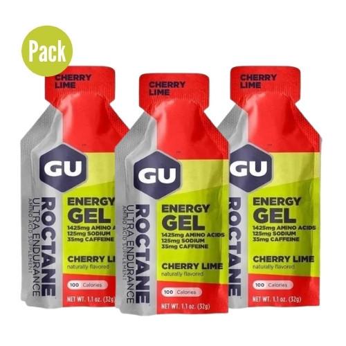 Gel GU Energy Running Roctane Cherry Lime Pack 3 Rojo