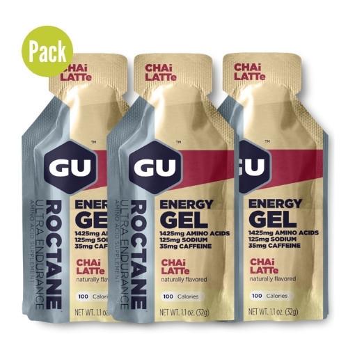 Gel GU Energy Running Roctane Chai Latte Pack 3 Azul