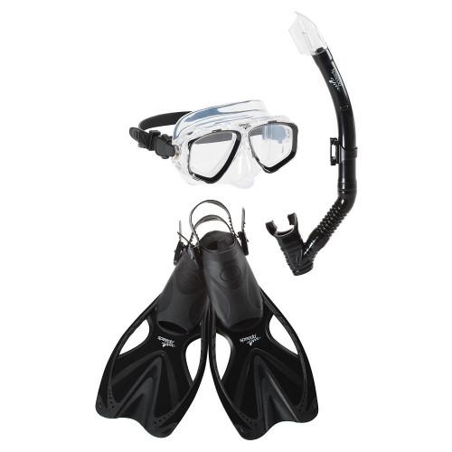 Kit Speedo Snorkeling Adventure Mask And Fins Negro
