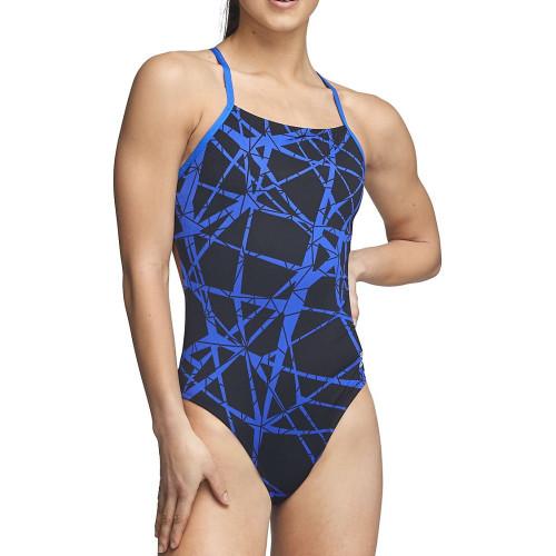 Traje de baño Speedo Natación Hard Wired One Back Azul Mujer