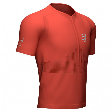 Playera Compressport Running TrailHalf-ZipFitted Rojo Hombre