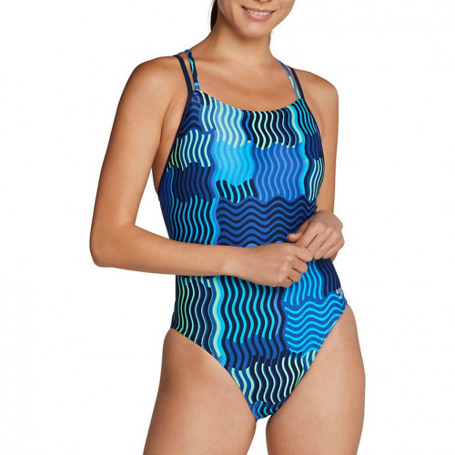 Traje de baño Speedo Natación Printed Volt Back Wavy Lines Azul Mujer