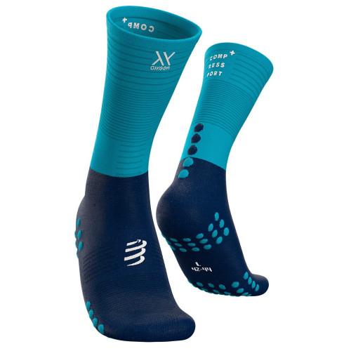 Calcetines Trail Running Compressport Mid compression Azul