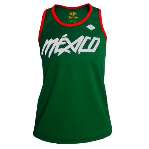 Tank Top Running Acide Sportswear Camiseta Mexico Verde Mujer