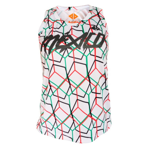 Tank Top Acide Sportswear Running Mexico Tricolor Blanco Mujer